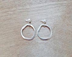 Items similar to Silver Moon Boho Hoop Earrings Silver Hoop Earrings, Stud Earrings, Unique Colors, Earrings Handmade, Silver Plate, Im Not Perfect, Dangles, Brass, Boho