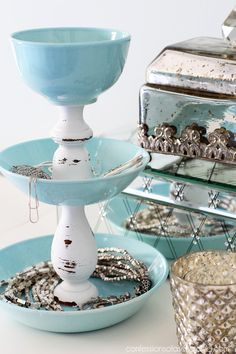 DIY Jewelry Storage from pretty dishes and two candlesticks. Confessions of a Serial Do-it-Yourselfer