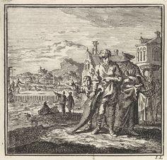 Jan Luyken | Visser laat een zalm aan een vrouw en kind zien, Jan Luyken, wed. Pieter Arentsz & Cornelis van der Sys (II), 1711 |