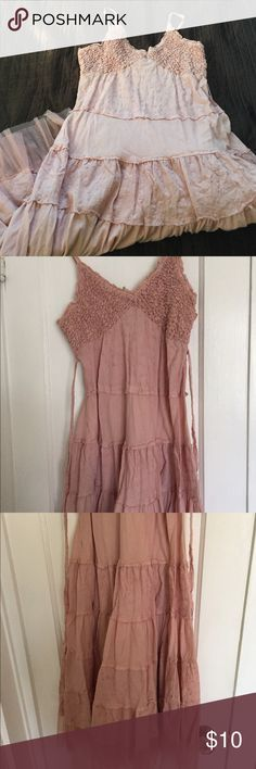 The Origionals Blush Calf Length Dress SZ L The Origionals Blush Calf Length Dress SZ L stretchy top straps 100% cotton dress with drill along the bottom. No stains but has been worn and washed The Origionals  Dresses Midi