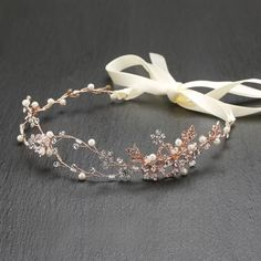 Handmade Bridal Headband with Painted Gold Rose Vines - Marry Me Wedding Accessories & Gifts - 2