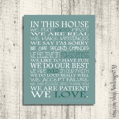 In This House We Do... Subway Wall Art - Family Rules - Housewarming gift - Home Decor - Digital Print