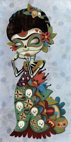 Artist Elena Catalan - day of the Dead, Dia de los muertos, sugar skull, frida kahlo Day Of The Dead Mask, Day Of The Dead Skull, Los Muertos Tattoo, Sugar Skull Art, Sugar Skulls, Mexican Folk Art, Art Pictures, Crane, Cool Art