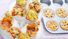 Wees creatief met je muffinbakblik oa; kleine appeltaartjes voor je high tea, of kleine pasteitjes of ga Invriezen ! Als je nog soep of tomatensaus over hebt kun je deze ook in porties invriezen met behulp van een muffinbakblik. Een siliconen muffinvorm is helemaal ideaal want dan duw je de bevroren soep of saus er makkelijk uit.