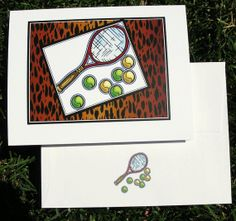 Tennis Note Cards Wild Tennis by TennisGiftsToGo on Etsy, $4.95