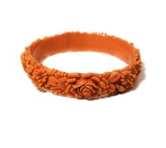 1930s Coral Celluloid Bangle Bracelet Molded by MorningGlorious