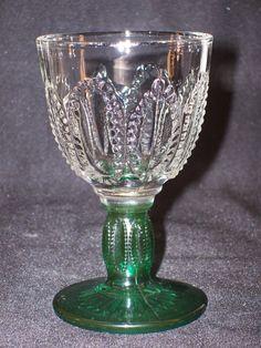 EAPG Beaded Glass Goblet Clear Bowl Green Stem by GarageSaleGlass, $14.99
