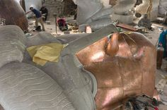 full-scale copper repousse statue of liberty cast by danh vo currently at Lismore Castle Co Waterford
