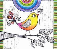 Colorful Rainbow Bird Baby room decor Christmas by DHANAdesign
