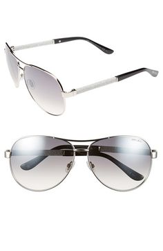 Jimmy Choo Aviator Sunglasses available at Jimmy Choo Glasses, Nice Glasses, Eyewear, Lenses, Aviation, Sunglasses Women, Nordstrom, My Style, Accessories