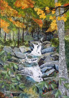 Fiber Art Quilts Landscape - waterfall