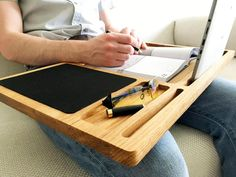 Lap desk Oak wood laptop stand Portable laptop desk with slots for Mac and iPhone Mobile workstation Wooden computer stand Laptop tray gift - Ideas of Laptop Stands - Lap desk Oak wood laptop stand Portable laptop desk with slots Portable Laptop Desk, Laptop Tray, Laptop Storage, Macbook, Wooden Laptop Stand, Laptop Screen Repair, First Fathers Day Gifts, Solid Wood Desk, Oak Desk