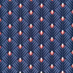 124512 Deco Petal | Navy from Wildwood by Elizabeth Olwen for Cloud9 Fabrics