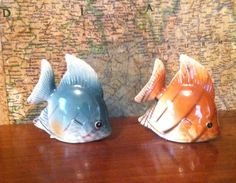 Vintage Tropical Fish Salt and Pepper Shakers