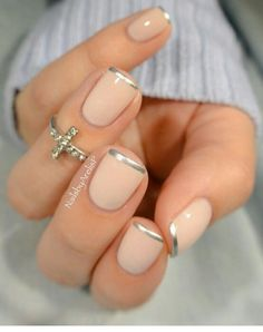 Silver tip nails idea for natural nails