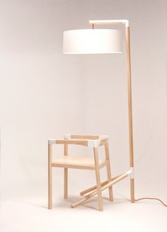 Peg lamp and chair is designed by Toronto-based designer Tomas Rojcik. The objects are manufactured using both advanced printing techniques and traditio Modular Furniture, Design Furniture, Chair Design, Wood Furniture, Modern Furniture, 3d Laser, Wooden Lamp, 3d Prints, Metal Chairs