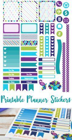 FREE purple peacock printable planner stickers for Septmeber Erin Condren Life Planner - Cricut  PDF files Más