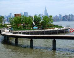 Pier C Park Pedestrian Bridge (south entrance), Hudson River, Hoboken, New Jersey