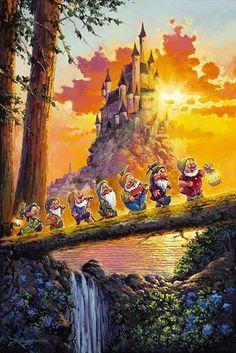 Snow White and the Seven Dwarfs Castle on the Horizon Rodel Gonzalez Disney Limited Edition Signed Embellished Canvas Images Disney, Disney Pictures, Disney Kunst, Arte Disney, Disney Artwork, Disney Drawings, Deviantart Disney, Disney Animation, Disney And Dreamworks