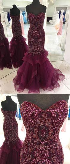 Mermaid prom dresses with sweetheart neck,shine beaded prom dresses,mermaid pageant dresses,#sheergirl #prom #longpromdresses