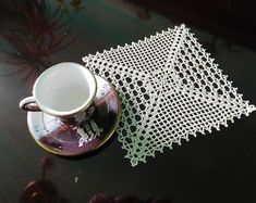 Square beige crochet doily or Wedding centrepiece, Christmas gift, table centrepiece, coffee tablecloth, coaster Christening Centerpieces, Amazing Weddings, Gift Table, Crochet Doilies, Table Centerpieces, Table Runners, Decorating Your Home, Coasters, Christmas Gifts