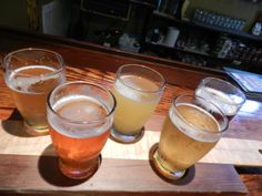 A sampling of Eastern Shore Brewing Company's colorful beers. They are neighbors in St. Michaels with Lyons Distilling and St. Michaels Winery.
