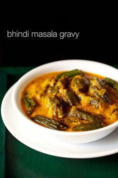 bhindi masala gravy recipe - sauteed okra or bhindi in a tangy onion tomato gravy.