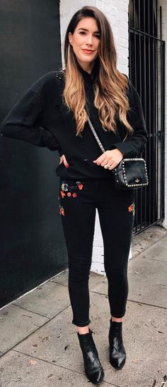 embroidered details all black everything