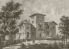 Kenworthy Hall, rendering by Richard Upjohn & Co., architects, ca. 1857.