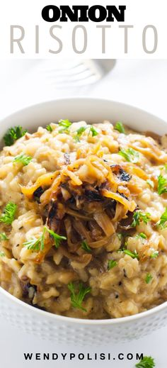 If you are looking for a fabulous vegetarian main course, or hearty side for meat, you will love this easy Caramelized Onion Risotto. With perfectly caramelized onions, garlic, Parmesan and goat cheese, this delicious dish is perfect for entertaining. Best of all, you can make it on the stove top or in your Instant Pot for an even simpler alternative. Gluten Free Recipes For Breakfast, Healthy Gluten Free Recipes, Vegetarian Recipes, Side Dish Recipes, Dinner Recipes, Vegetarian Main Course, Pressure Cooking Recipes, Healthy Meats, Risotto Recipes