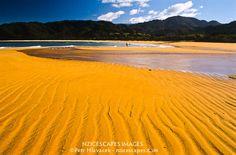 Golden beach in Totaranui on the Abel Tasman Coastal Track - Abel Tasman NP, Nelson Region, New Zealand