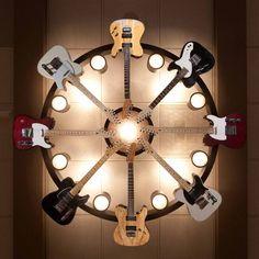 6 Fender guitar chandelier. #music #interiors #lighting #fender #guitars  #musicinteriors #guitar http://www.pinterest.com/TheHitman14/music-interiordecor-%2B/