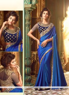 Real elegance comes out as a outcome of the dressing trend with this blue silk classic designer saree. The enticing embroidered and patch border work a substantial characteristic of this attire. Comes...