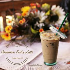 Mock Cinnamon Dolce Latte (S) Sugar Free, Low carb and one of my favorites! Sugar Free Coffee Syrup, Thm Recipes, Trim Healthy Recipes, Trim Healthy Mama Plan, Shake Recipes, Healthy Options, Free Recipes, Smoothie Drinks, Smoothie Recipes