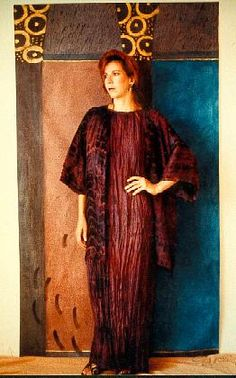wearable at silk Fortuny pleated column dress with painted architectural backdrop, wearable art dress in dyed and pleated silk, shibori silk...