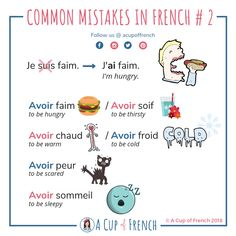 Learn French with A Cup of French! Easy and fun lessons with infographics and videos. You can enjoy your cup of French wherever you want and at your own pace. French Verbs, French Grammar, French Phrases, French Language Lessons, French Language Learning, French Lessons, Learning Spanish, Spanish Lessons, Spanish Language