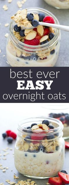Our favorite easy overnight oats recipe, made with just 4 ingredients and a touch of vanilla. We love this healthy oatmeal topped with fresh berries and almonds! kristineskitchenb...