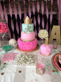 Pink mint gold first birthday