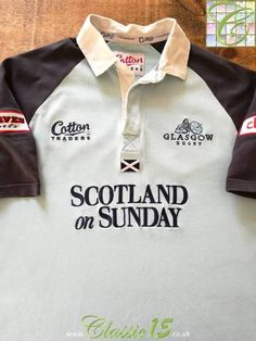 Official Cotton Traders Glasgow kit rugby shirt from the season. Rugby Kit, Scottish Rugby, Rugby Shirts, Glasgow, Navy And White, Warriors, Celtic, Store, Classic