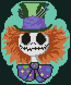 Jack Skellington as Mad Hatter Nightmare Before Christmas Tim Burton Mad_Hatter_Jack_Skellington by Maninthebook on Kandi Patterns Kandi Patterns, Pearler Bead Patterns, Perler Patterns, Beading Patterns, Cross Stitching, Cross Stitch Embroidery, Cross Stitch Patterns, Diy Perler Beads, Perler Bead Art