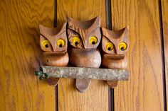 Vintage Wood Carved Owl Family Wall Art Kitsch by sopasse on Etsy, $40.00