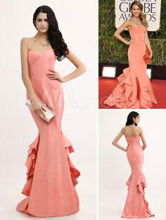 Mermaid Ruffles Sweetheart Jessica Alba Golden Globe Dress - Milanoo.com