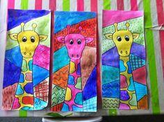 De belles girafes à l'encre / craies grasses