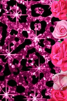 My Pink cheetah rose wallpaper... Walk in closet wallpaper (: with hello kitty instead if roses
