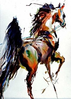 SADDLE BRED watercolor horse print Double Matted to by ratafia, $43.50