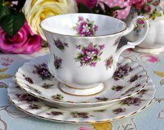 Royal Albert Sweet Violets Vintage China Teacup Trio c.1966