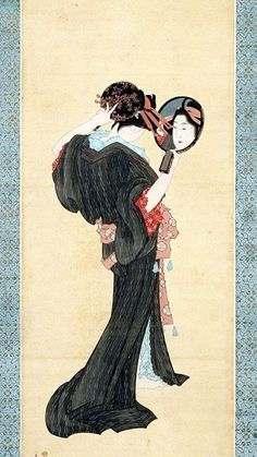 "Binja with Hand Mirror. This is one of the problematic ""Dutch Pictures"" collected by Siebold in 1824-6. Unsigned, but attributed to Katsushika Hokusai, perhaps assisted by his daughter Oei"