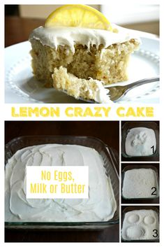 LEMON CRAZY CAKE – No Eggs, Milk, Butter or Bowls! You probably have everything you need to make this cake right in your pantry. Perfect for people with egg and dairy allergies. Budget friendly too. No Egg Desserts, Lemon Desserts, Lemon Recipes, Baking Recipes, Dessert Recipes, Lemon Cakes, Crazy Cakes, Crazy Cake Recipes, Necklaces