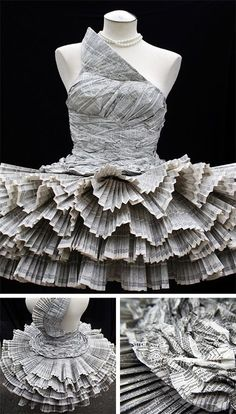 ℘ Paper Dress Prettiness ℘ art dress made of phonebook by Jolis Paon Paper Fashion, Origami Fashion, Dress Fashion, Fashion Art, Fashion History, Daily Fashion, Runway Fashion, High Fashion, Fashion Ideas