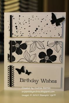 handmade birthday card from Snippets: Cake-inspired  ... white with black stamping and ribbon ... three panels with differend stamped designs ... Stampin' Up!
